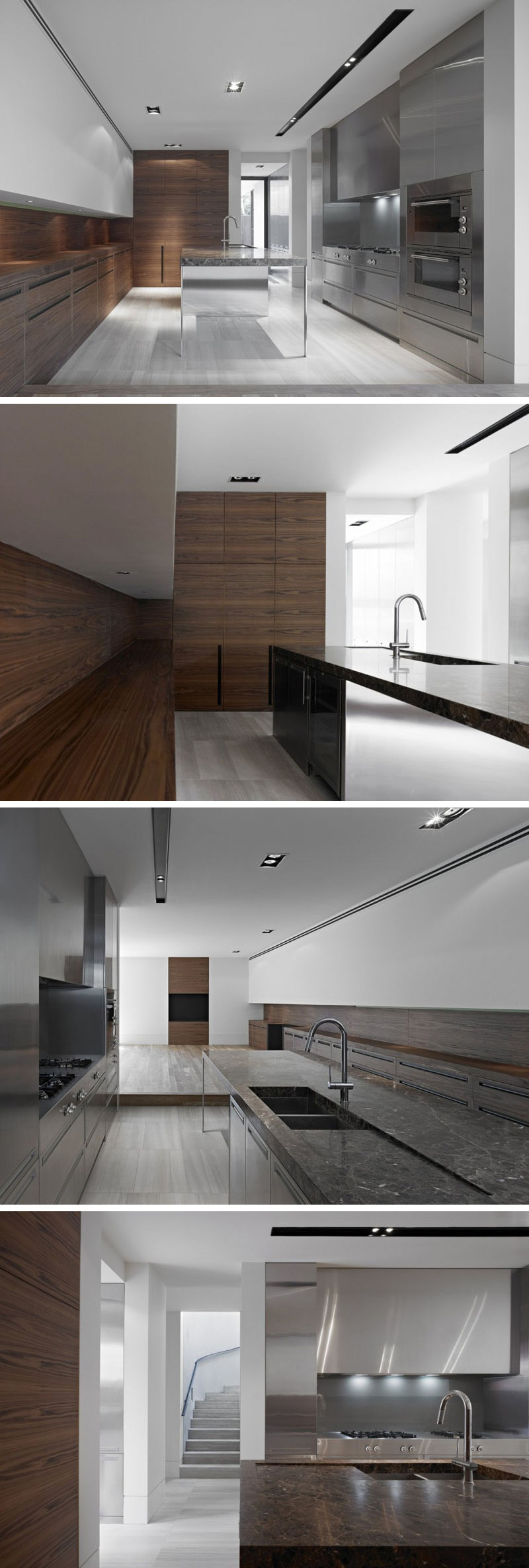 This modern kitchen features dark wood lower cabinets and white upper cabinets. The long island in the centre of the kitchen has a glossy marble top and a mirrored stainless steel base that matches the stainless steel cabinets along the other wall.