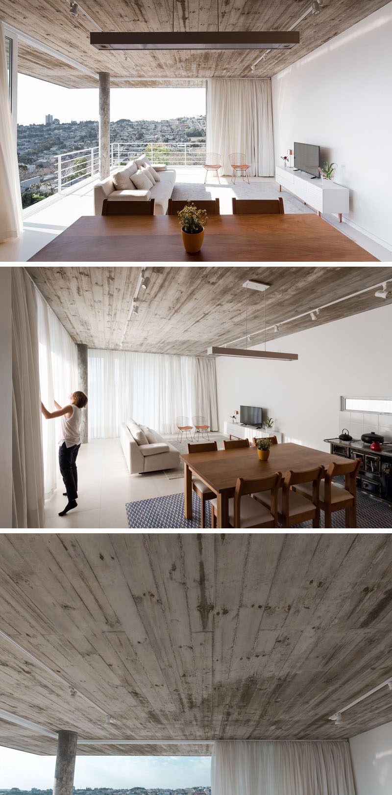The ceiling throughout the home is made from concrete that was cast in place, allowing the finished ceiling to reveal the wood texture of the form.