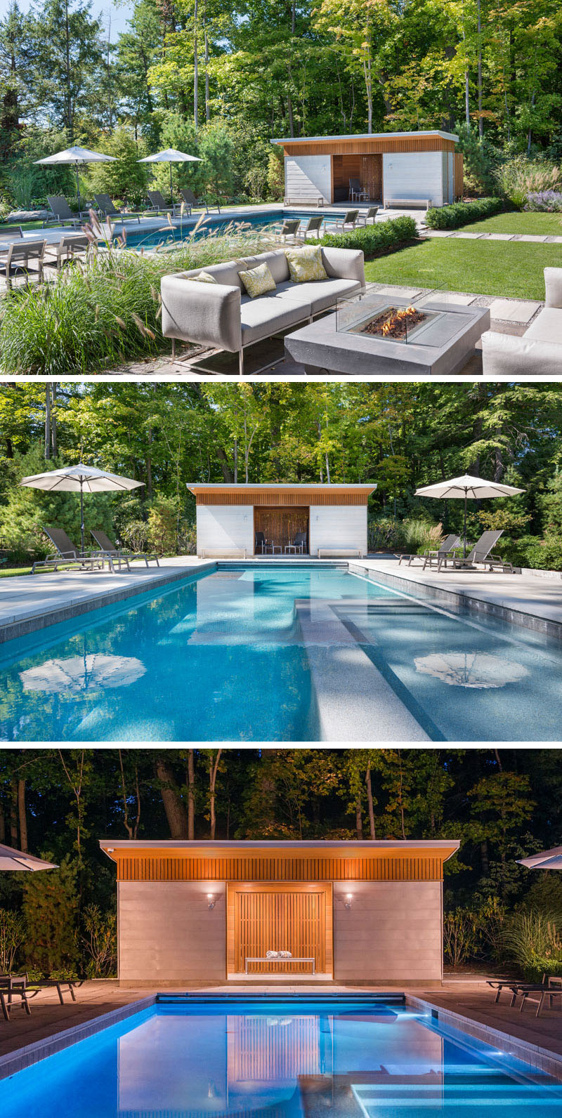 At the end of this modern landscaped backyard and pool, there's a cabana that's been built using zinc panels and cedar, and becomes a focal point for the pool area.