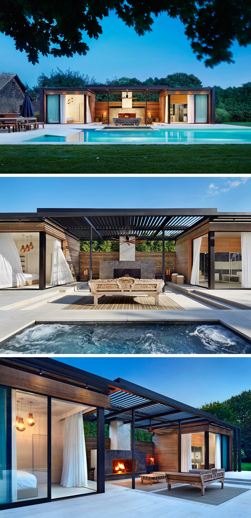 11 modern pool houses to get you inspired for summer for Outdoor pool house