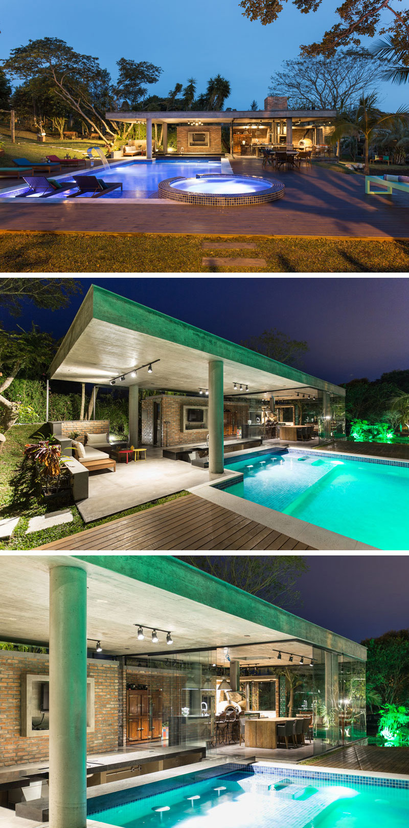 Made from concrete, brick, and glass, this modern pool house is made for entertaining. There's a full kitchen, swim up bar, and multiple seating arrangements surrounding the pool.