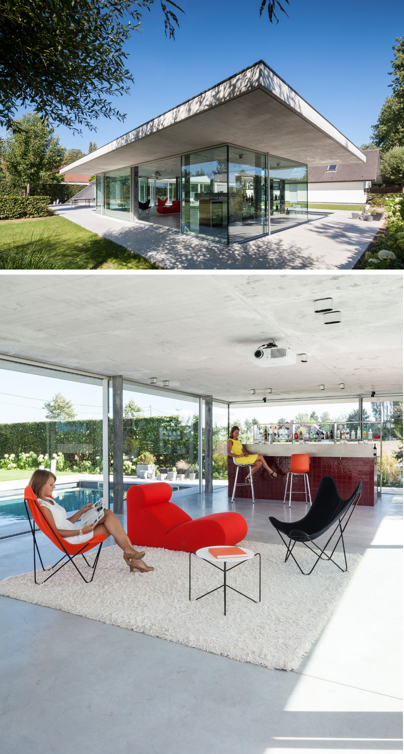Surrounded by glass, this modern house with <a href=