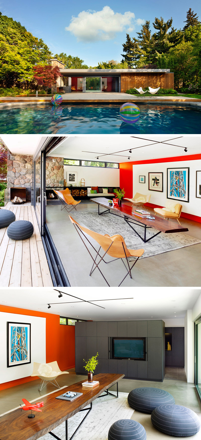 Mid-century inspired, this modern pool house has large glass sliding doors making it perfect to enjoy both indoor and outdoor space on a hot sunny day.