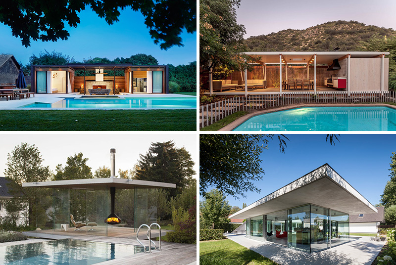 These modern outdoor pool houses are unique in design and great inspiration for summer.
