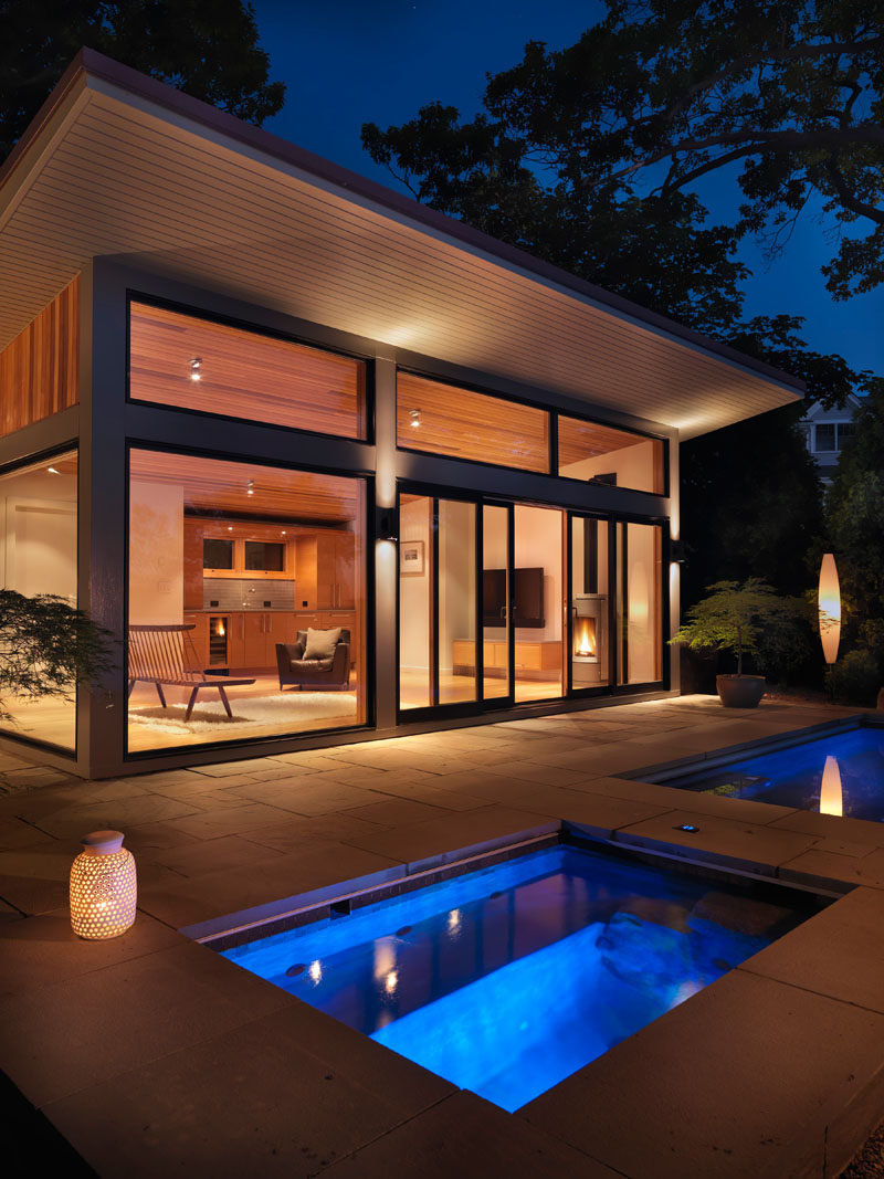 Flavin architects design a poolside guest house - Modern house with pool ...