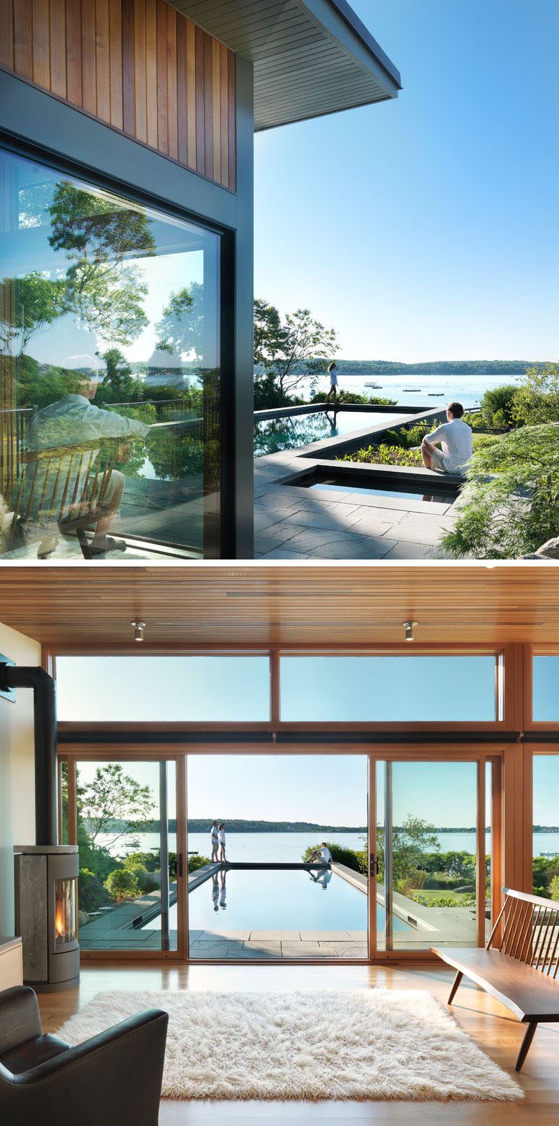 This modern guest house looks out towards pool and the harbor so that the clients, who are avid sailors, can watch the ever-changing view of boats.