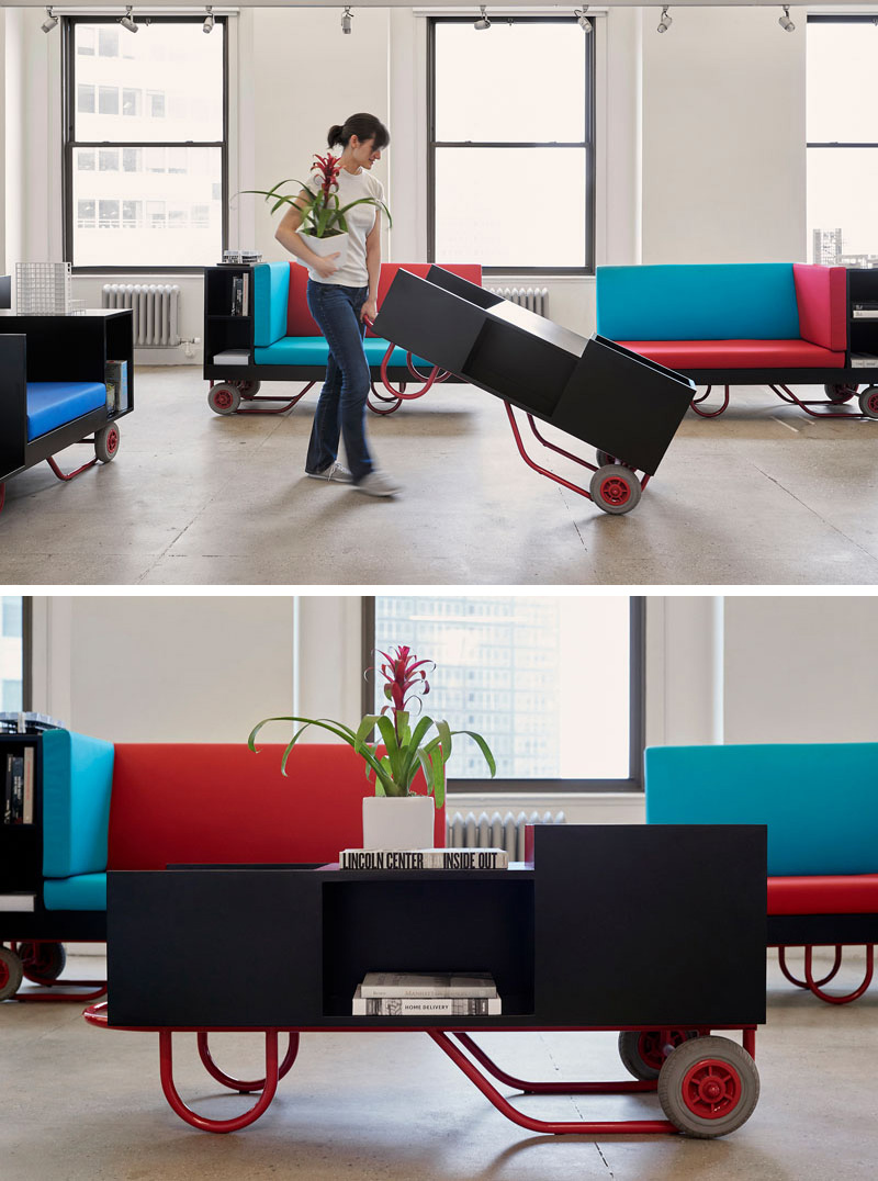 Easy to move, these modern furniture pieces can be rearranged and brought to different spaces. With each new day, the furniture can be moved to accommodate for different tasks.