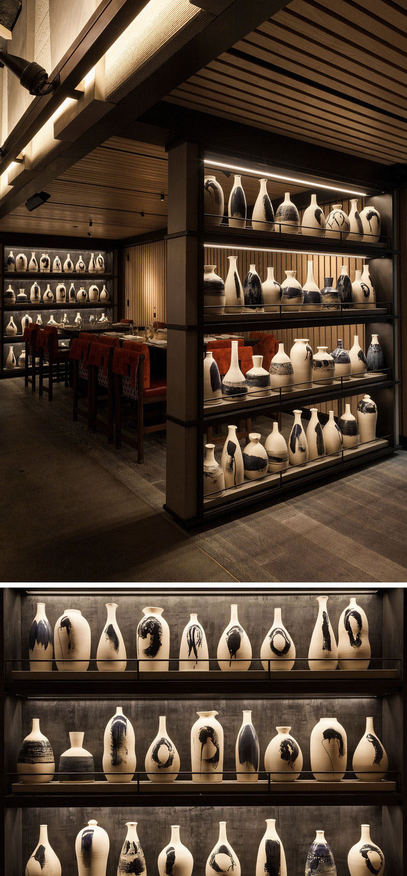 Nobu Downtown (NYC) has a collection of more than 70 handcrafted earthenware rice-wine bottles that fill two floor-to-ceiling open shelves.