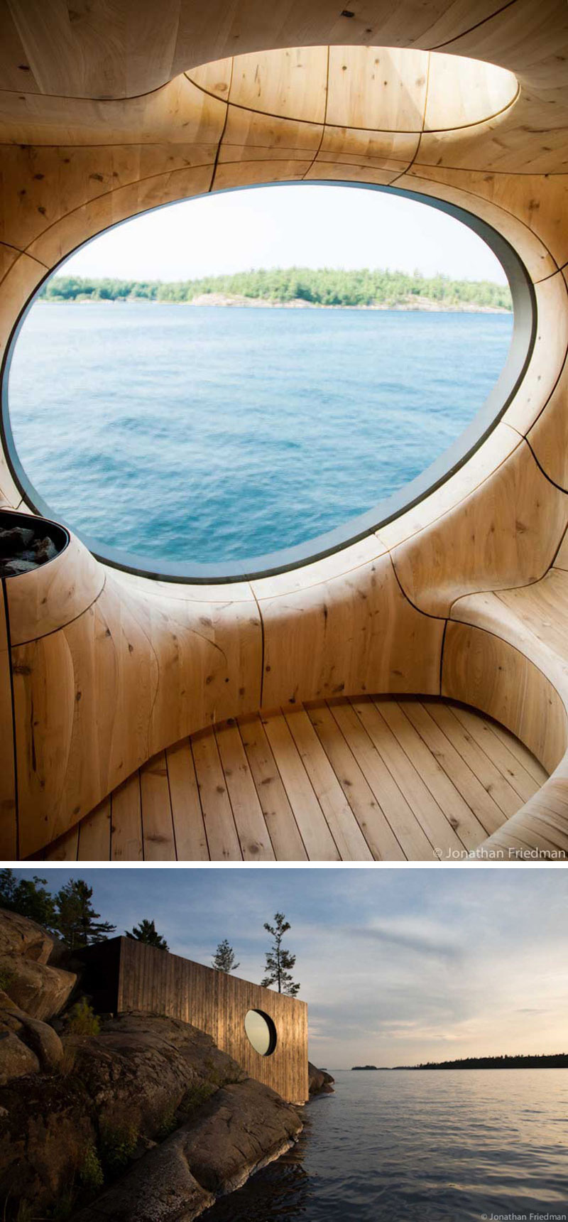 In this modern wood sauna, breathtaking views can be seen through the rounded window, while light from above is provided through another round window.
