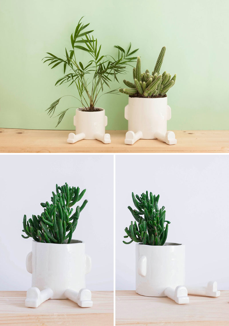 These modern white ceramic planters are full of personality, and just want to take a rest. The size of these planters makes them perfect for cacti and succulents.
