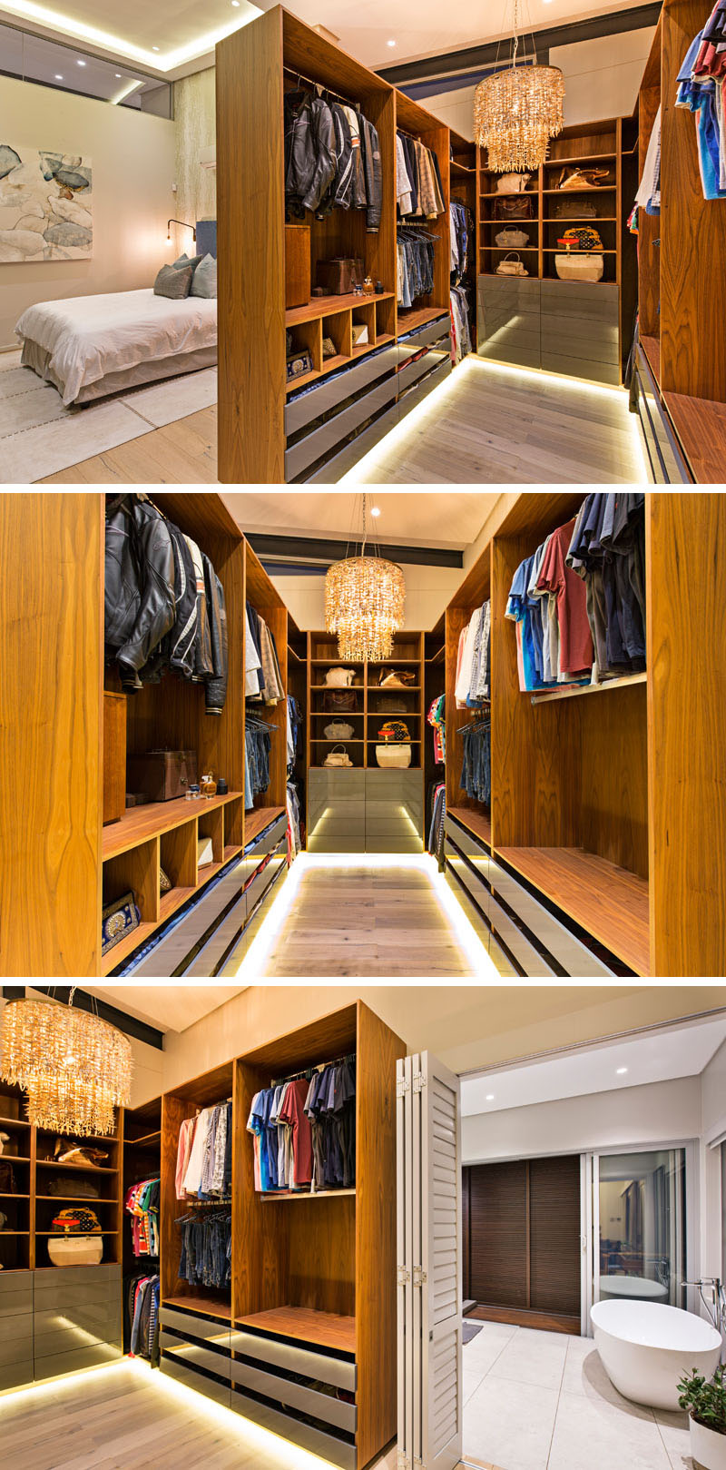 This all wood, modern walk-in closet separates the master bedroom from the ensuite bathroom. A unique textured chandelier centres the closet, while hidden lighting on the floor adds a warm glow.