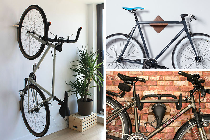 These modern wall mounted bike racks fit in small spaces and are perfect for every home.