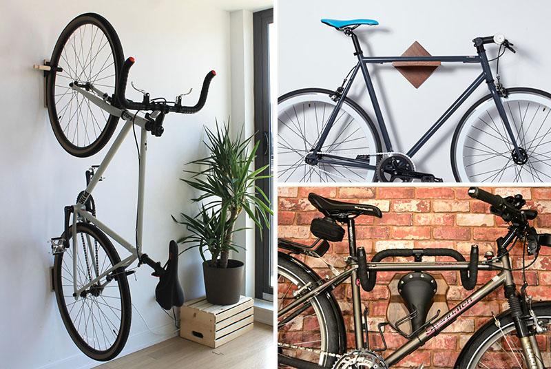 Wall mounted bike racks and holders.
