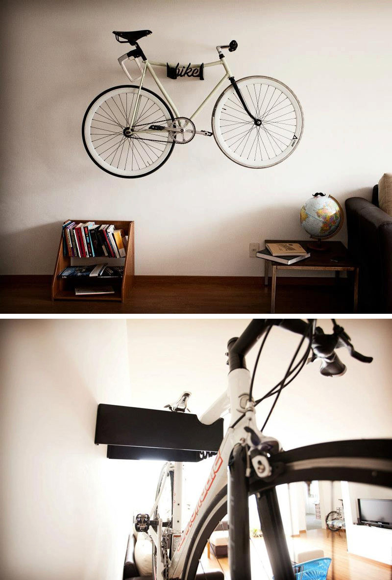 Made from black steel, this modern wall mounted rack is customised for hanging bikes in small spaces.