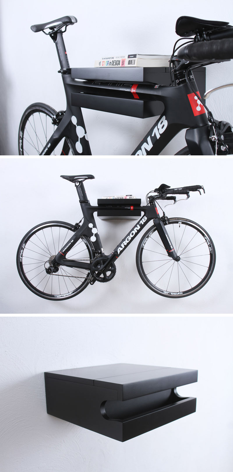 A black wall mounted bike rack that also doubles as a shelf.