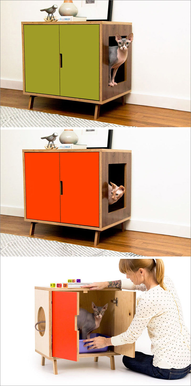 This modern cabinet hides a litter box inside, and is made from a high quality walnut wood with a water proof finish, which can be left natural or painted.
