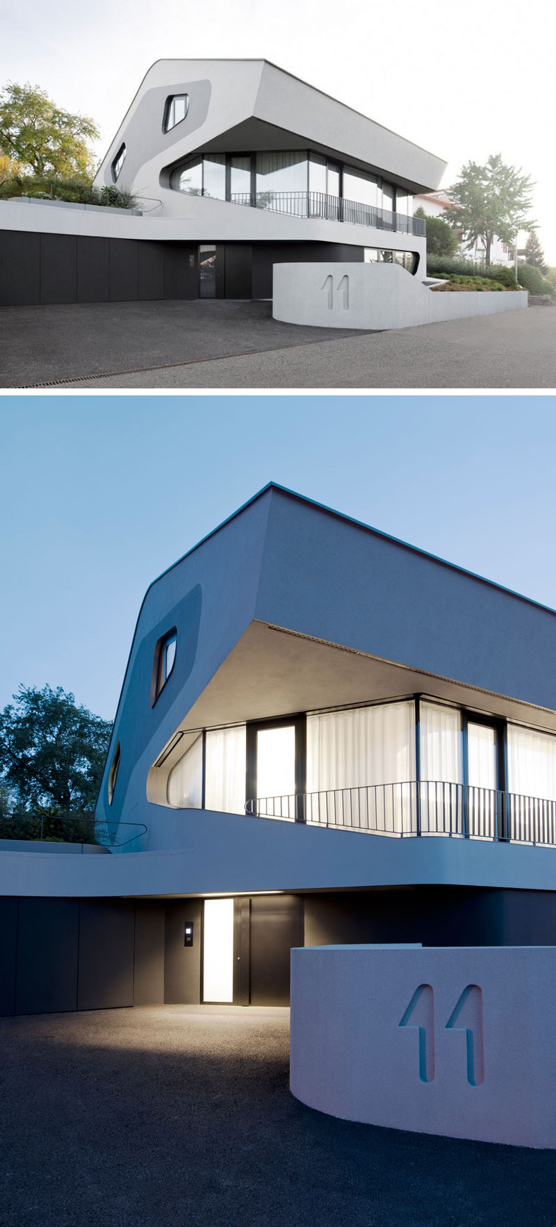 J. Mayer H. Architects have designed the OLS House, a modern black, white and grey house in Germany.