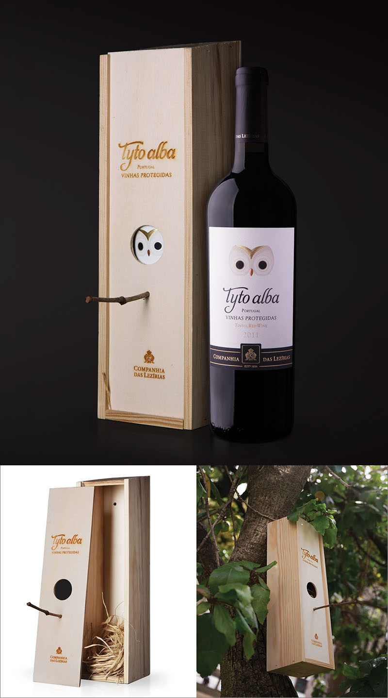 Modern in design this wine bottle features the striking eyes of a barn owl on a crisp white label. After the wine has been enjoyed, the wood box with an attached twig can be placed in a tree and used as a bird house.