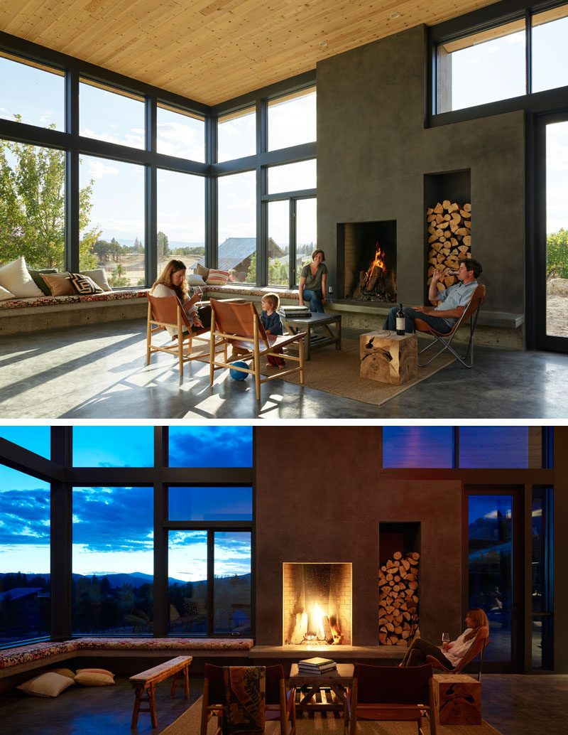 This modern winery has a wrap around window seat with views of Mt. Hood, and a wood-burning fireplace for an informal living room atmosphere.