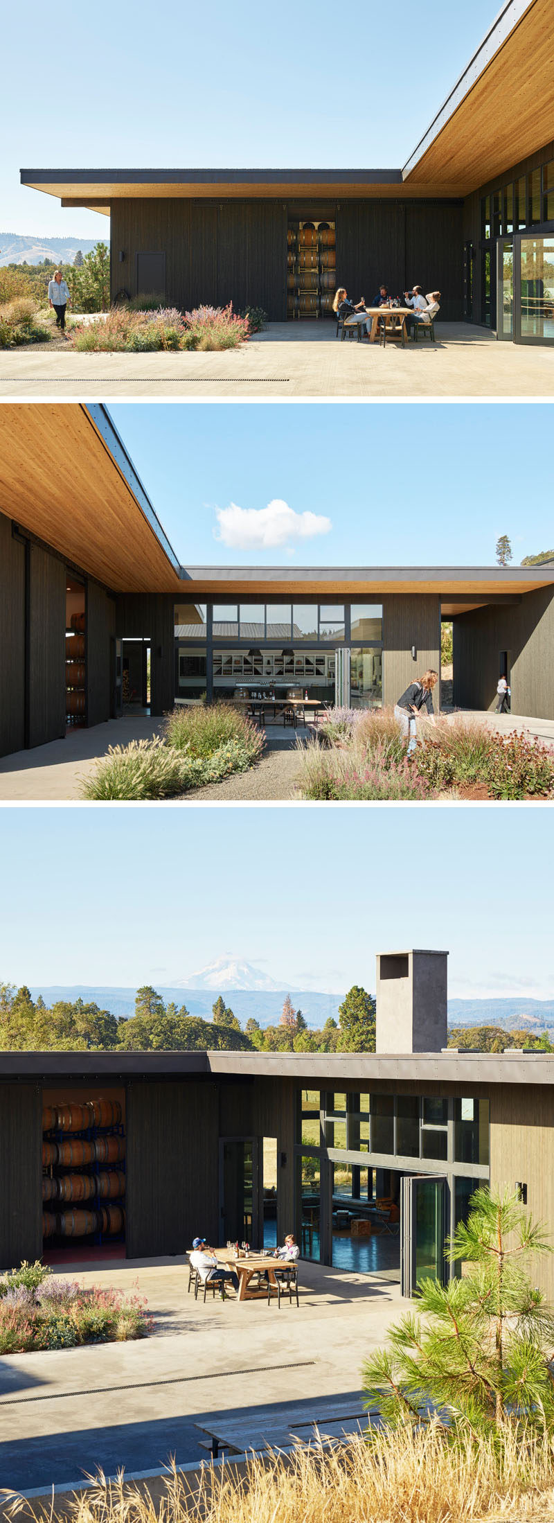 The courtyard was a desired aspect of this modern winery, as the owners wanted to be able to host events, musical performances and communal dinners.