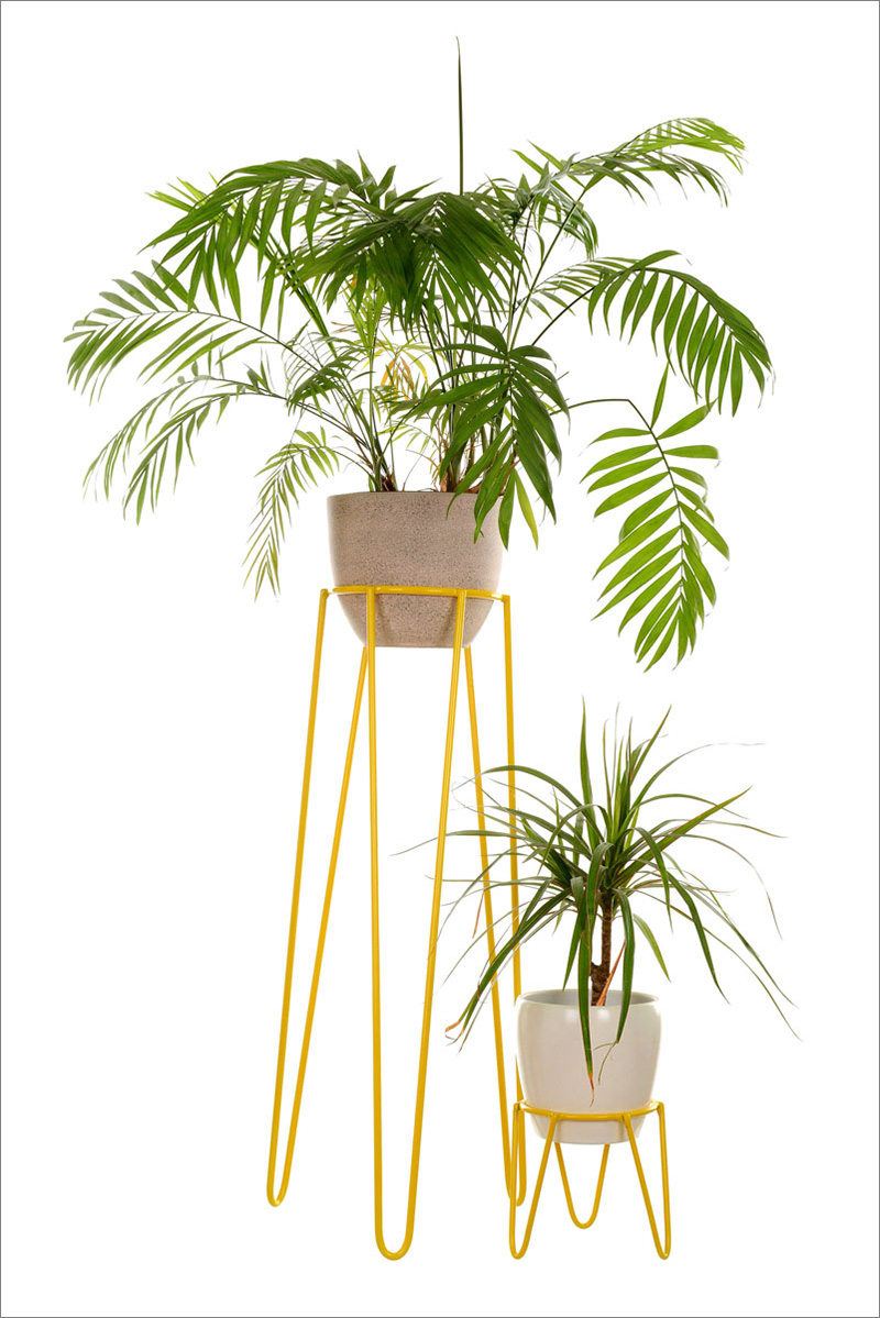 Mid-century inspired, these yellow wire modern plant stands are nice and sturdy making them perfect for any plant inside, or out.