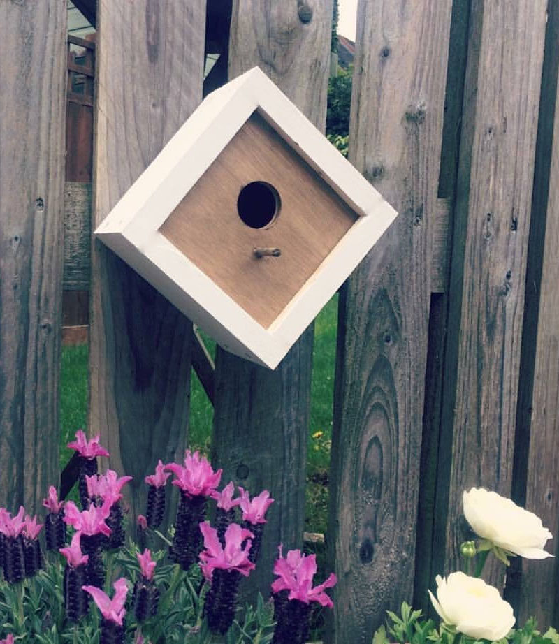 This small modern birdhouse has a geometric shape and the white border helps it stand out against the wall or fence that it hangs on.