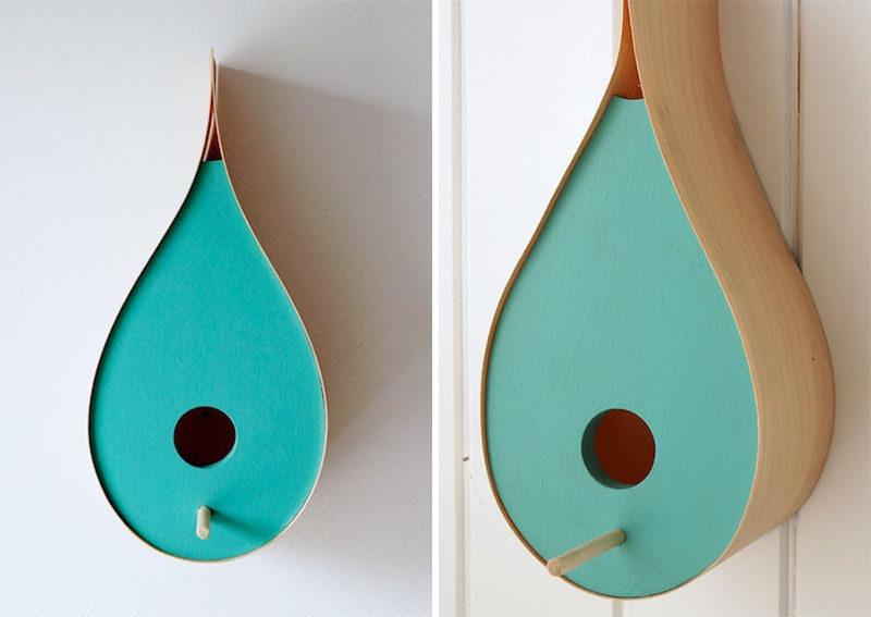 This rain drop shaped birdhouse has a colorful turquoise facade and birch veneer sides.
