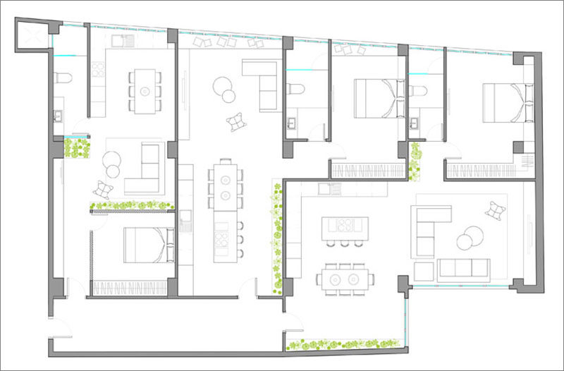 This rental building was split up into three different apartments (see floor plan).