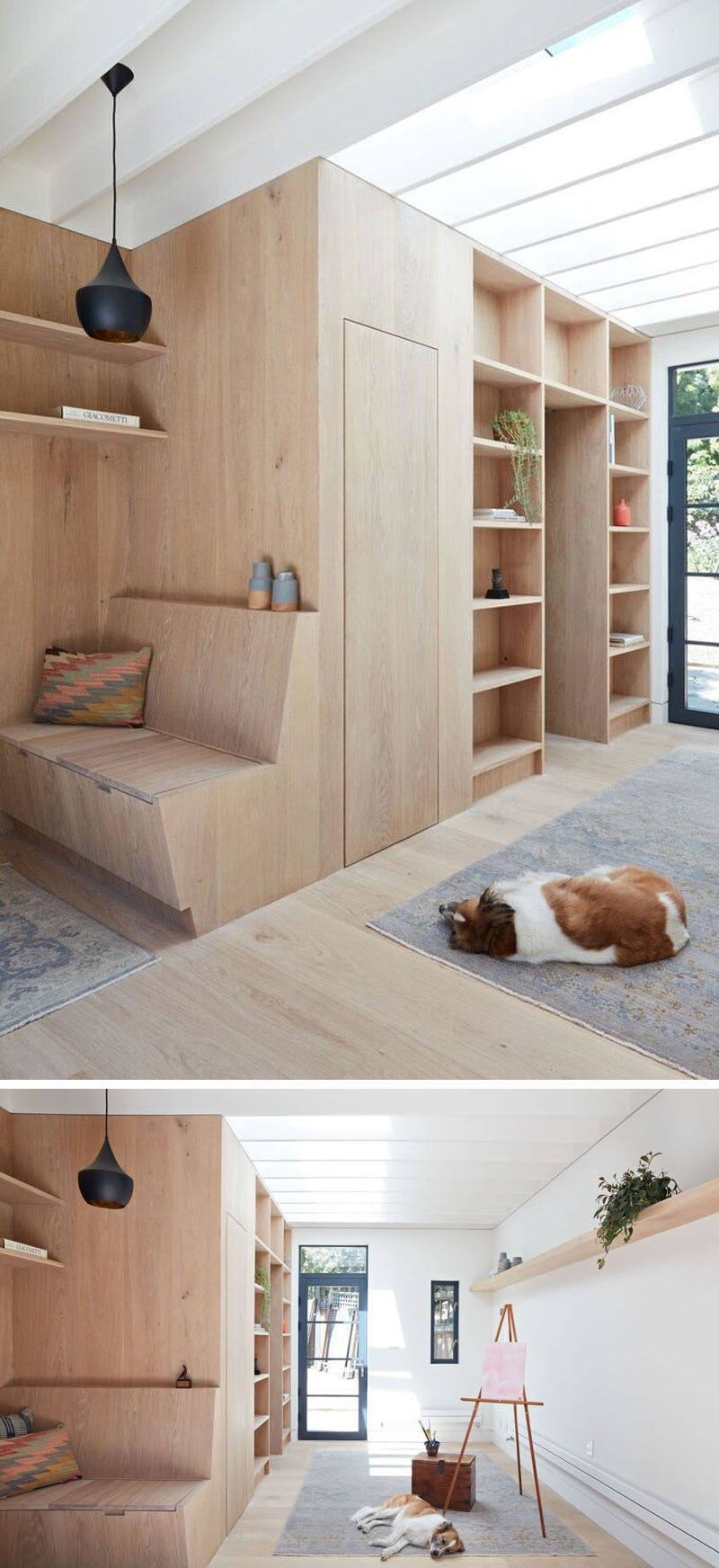 This small backyard studio features walls, shelving and furniture made of white oak.