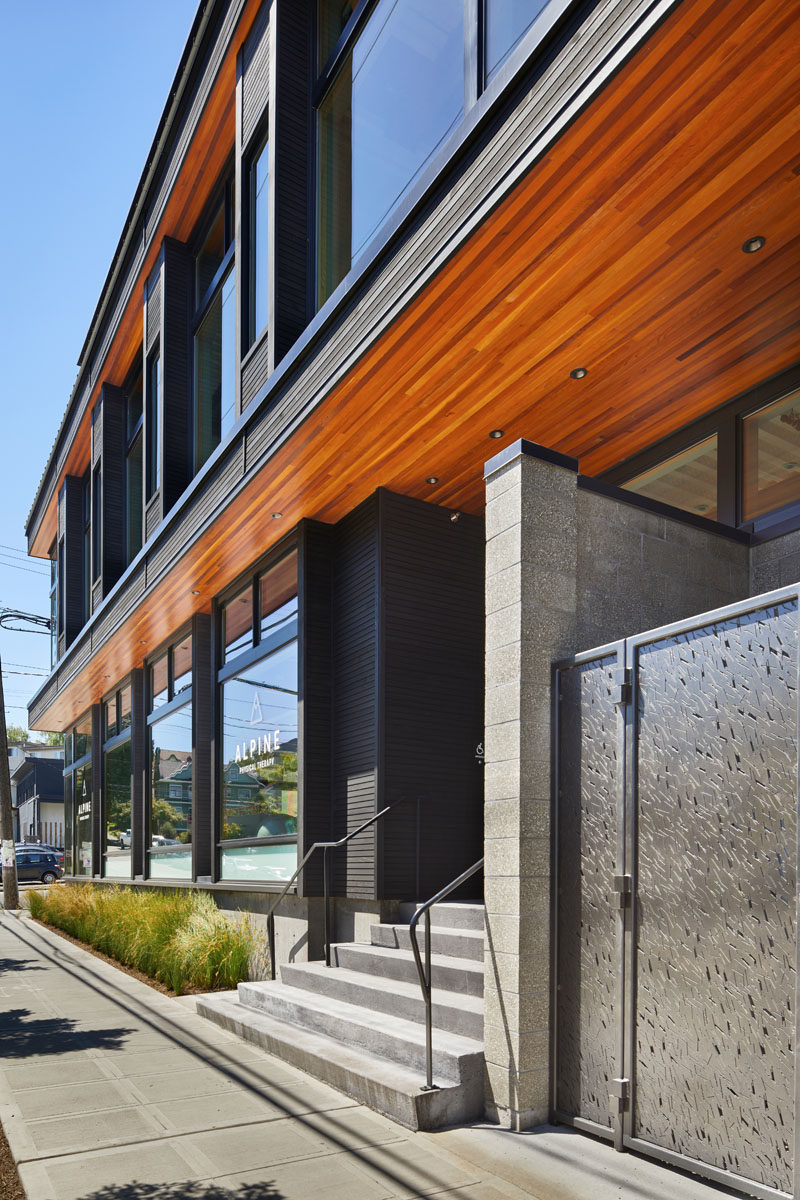 This live-work building in Seattle features deep roof overhangs, built-in shades and high operating clerestory windows are used to reduce heat gain in summer months.