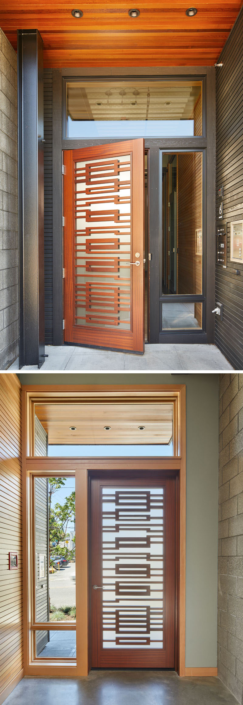 The entrance to this modern live-work building features a custom sapele wood front door that adds a warm touch to the building and contrasts the building's blackened wood cladding.