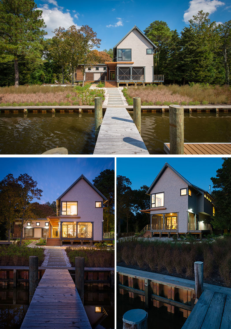 This modern house is positioned to maximize the waterfront views, while also providing protected and shaded areas. A dock allows the home owners to have direct access to the waterway.