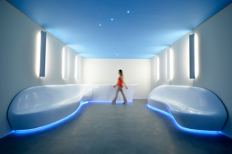 Architecture firm SUBdV have used their skills to design and create a custom office reception area with a fluid lounge setting that looks futuristic and aero-dynamic.