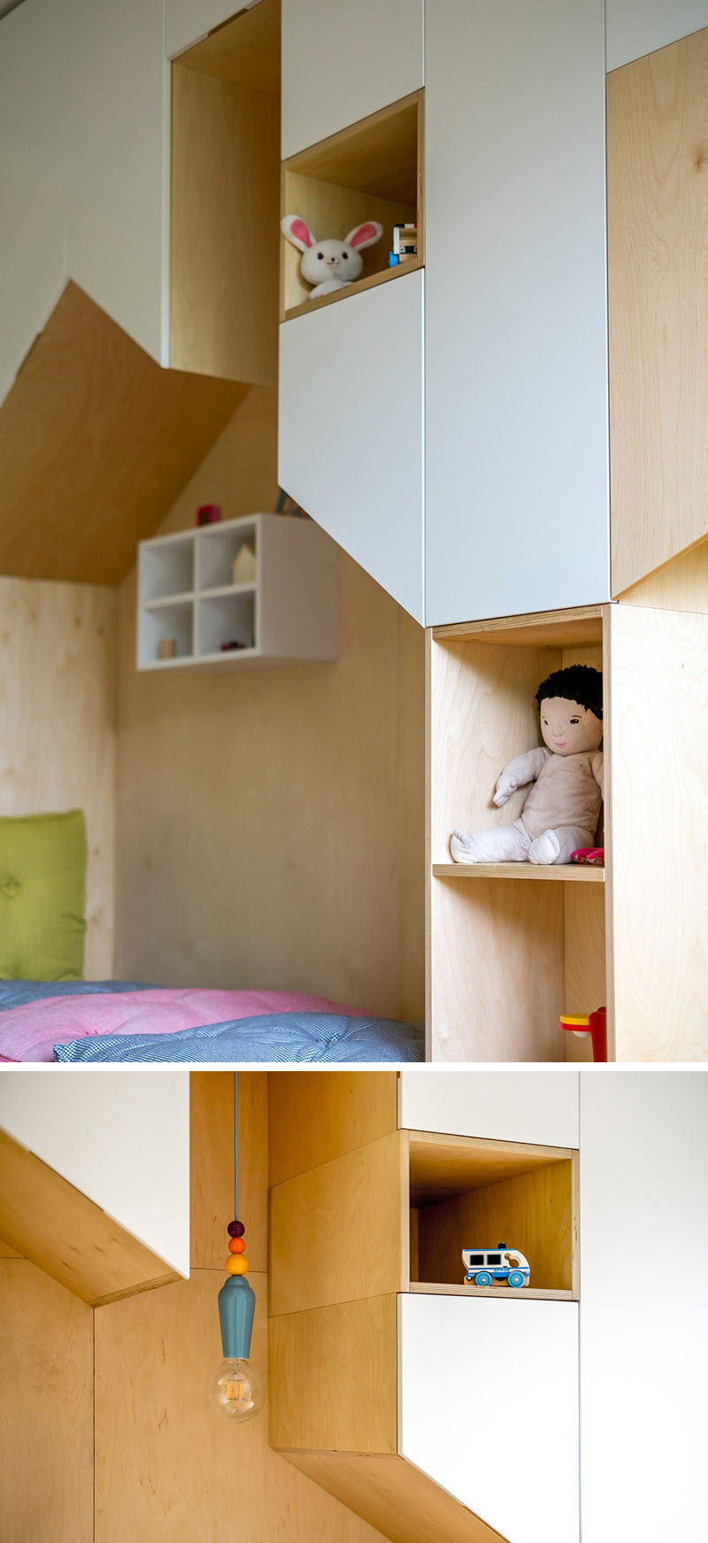 This fun kids bedroom has plenty of storage and two beds inside the large wall unit made from birch plywood and white painted mdf combines cupboards and open shelves that wrap around each of the beds amipublicfo Image collections