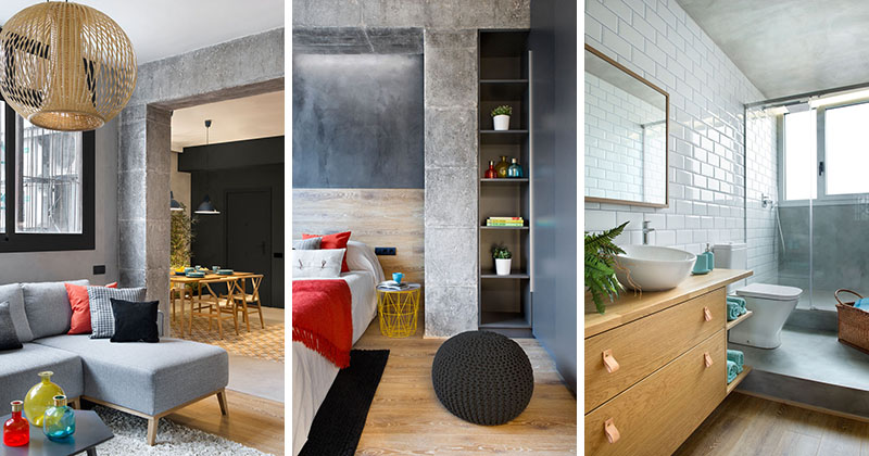 Concrete Wood Tiles And Black Accents Are All Combined In This Re Designed Spanish Apartment