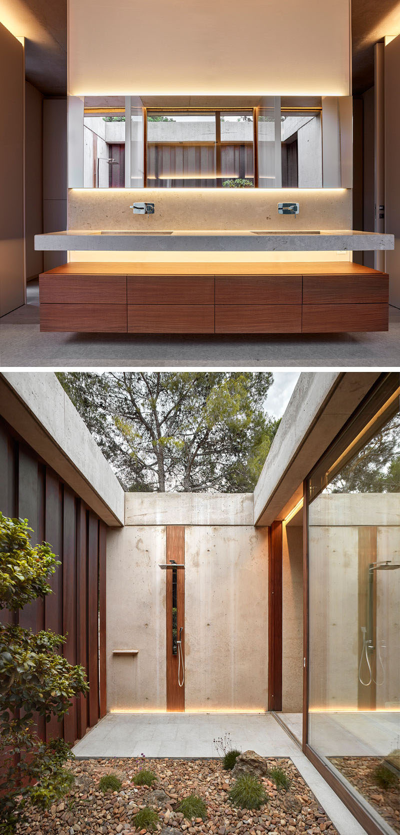 In this modern bathroom, the large double sink floating vanity and mirror are backlit, creating a calming ambiance. There's also an outdoor shower which also has hidden lighting.