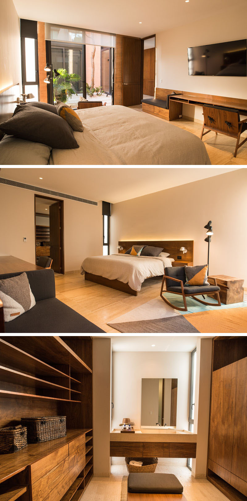 This simple bedroom features a built-in desk/bench and an ensuite bathroom. The bedroom looks out onto a small courtyard that provides natural light to the room.