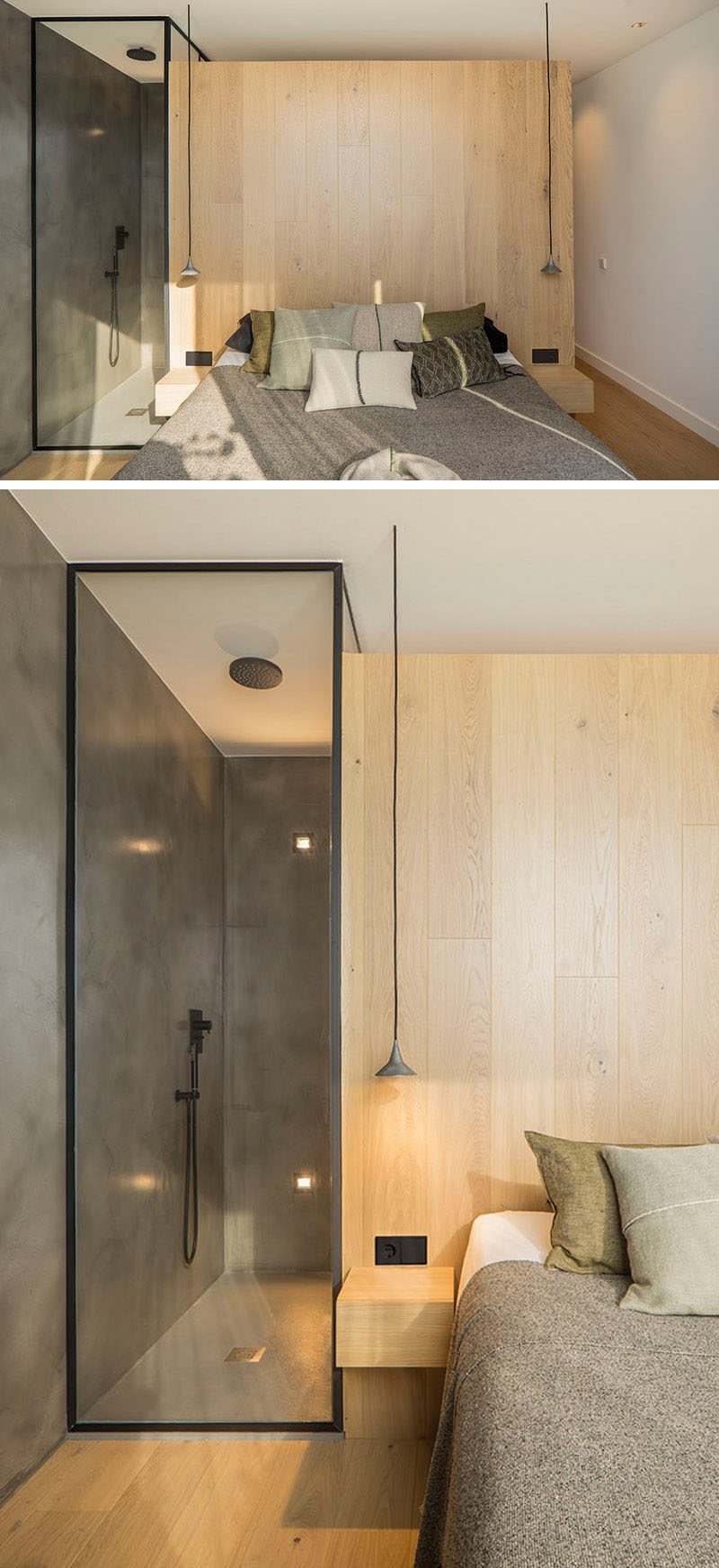 Wood has been introduced to this modern bedroom in the form of a headboard, while the black framed glass enclosed shower is visible to the room.