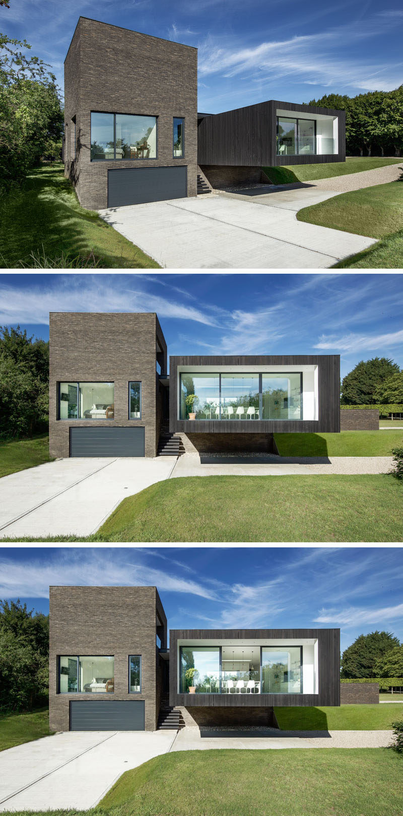 This modern house has been designed so that it almost appears to be floating, and at one end there's an almost 24 foot (7.3m) cantilevered section that houses the dining room. Sliding glass doors open to a balcony that overlooks the manicured gardens that surround the house.