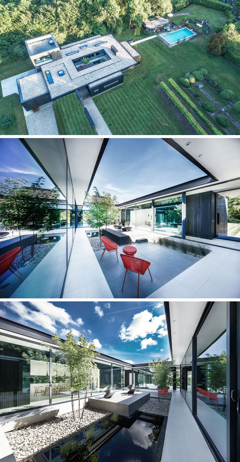 From above, you can see that the interior spaces of this modern house wrap around a central courtyard that provides year round sheltered outdoor space.