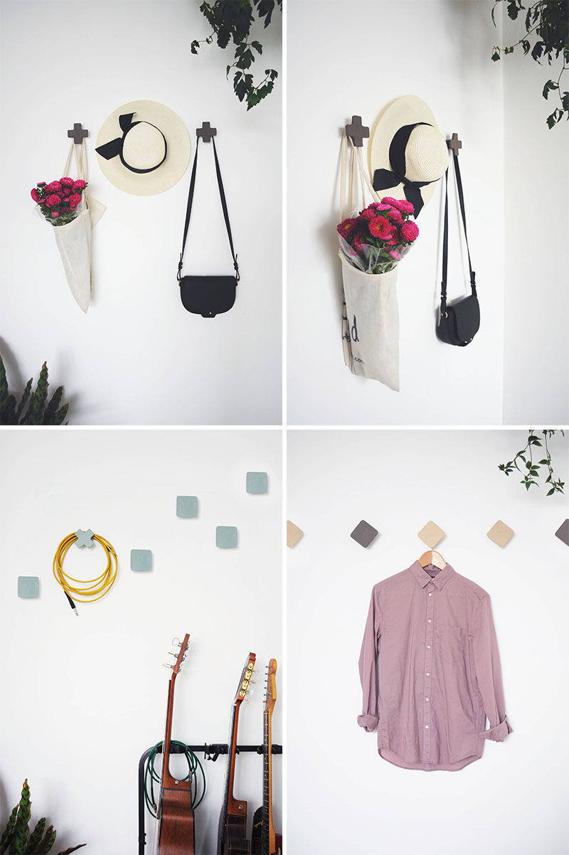These geometric ceramic wall hooks, designed in a variety of shapes, sit away from the wall slightly to allow a coat hanger or back to hang behind the hook.