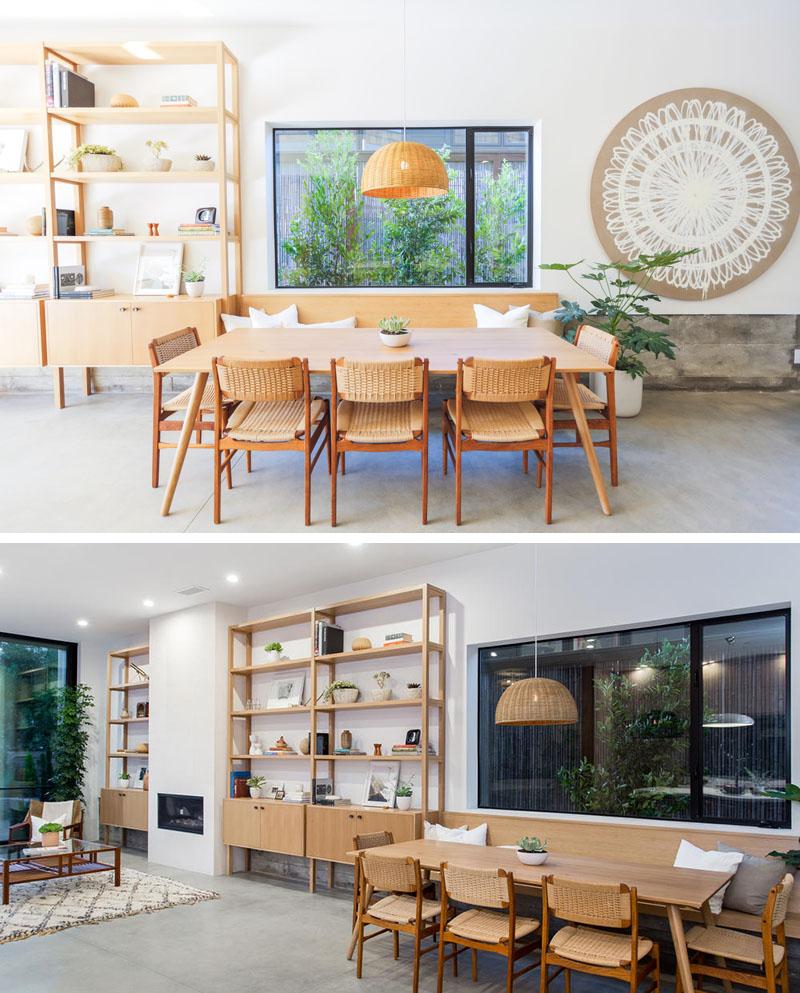 Miraculous Modern Dining Table Built In Shelving Bench Fireplace 130717 Inzonedesignstudio Interior Chair Design Inzonedesignstudiocom