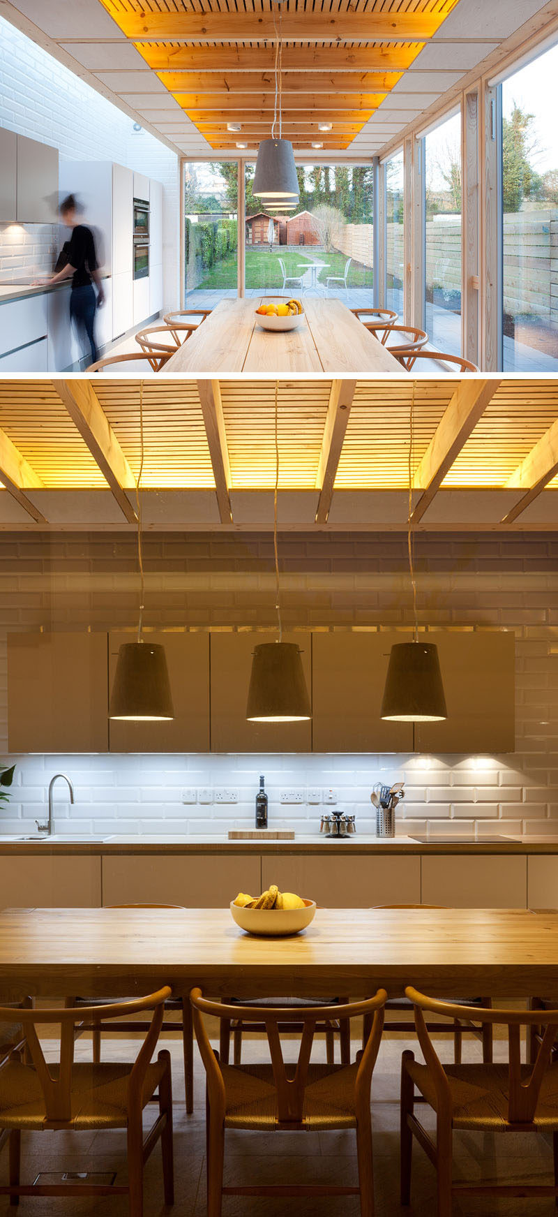 At night, this modern house extension is lit up with concealed LED strips that are located within the ceiling to highlight the exposed timber joists and to create a calm and relaxing atmosphere.