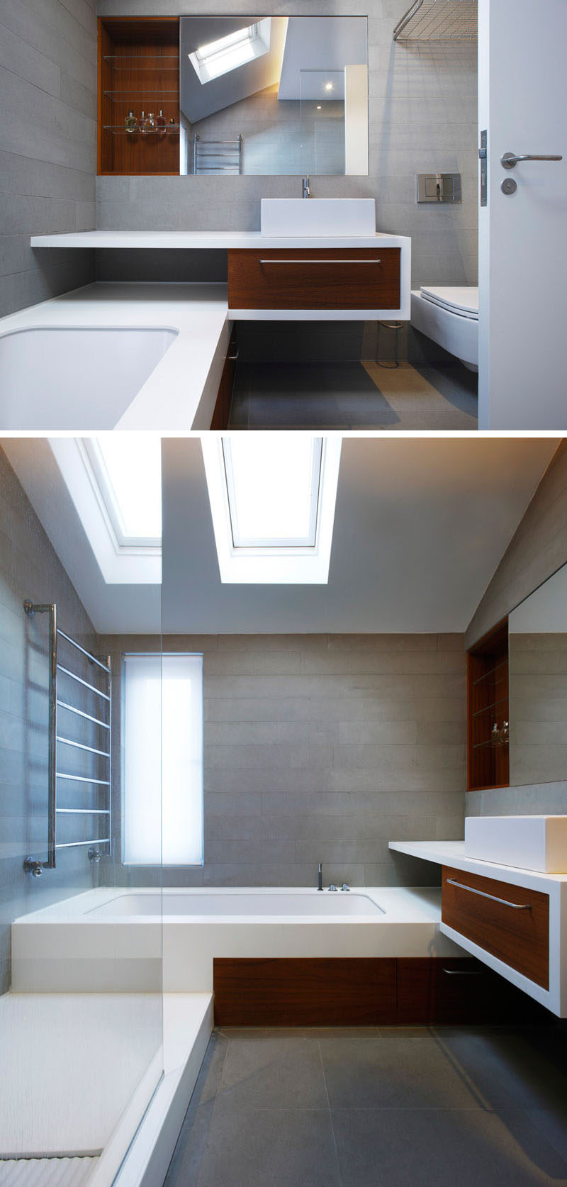 In this modern bathroom, Pietra Serena Italian sandstone walls and floors have been combined with real teak cabinets and shelving to create a modern and clean appearance and to add a touch of warmth and luxury to the home.
