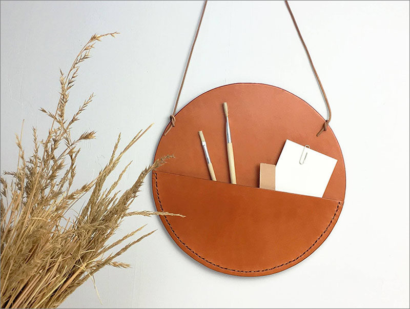 Leather Wall Pockets Are An Easy Alternative To Shelves