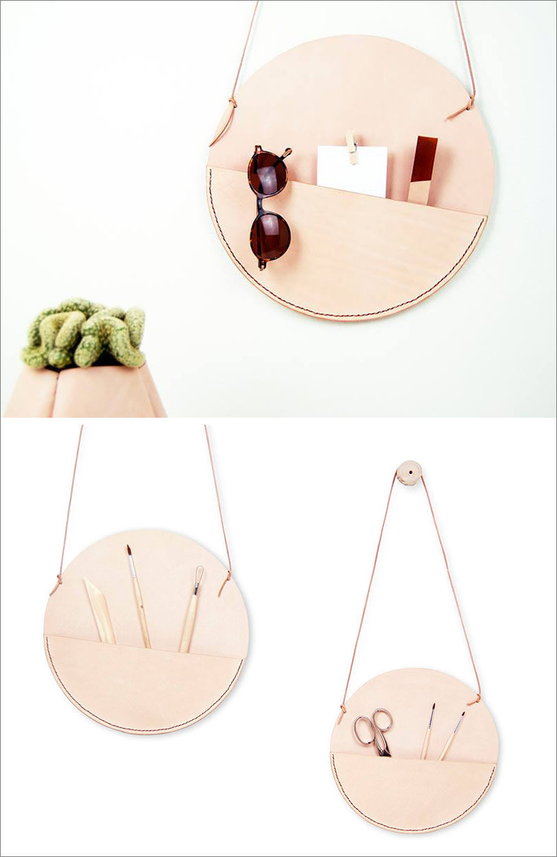 Javier Prieto Martínez of Miolos Design, has created a collection of leather pockets that hang on your wall, that are designed as an alternative to shelves.
