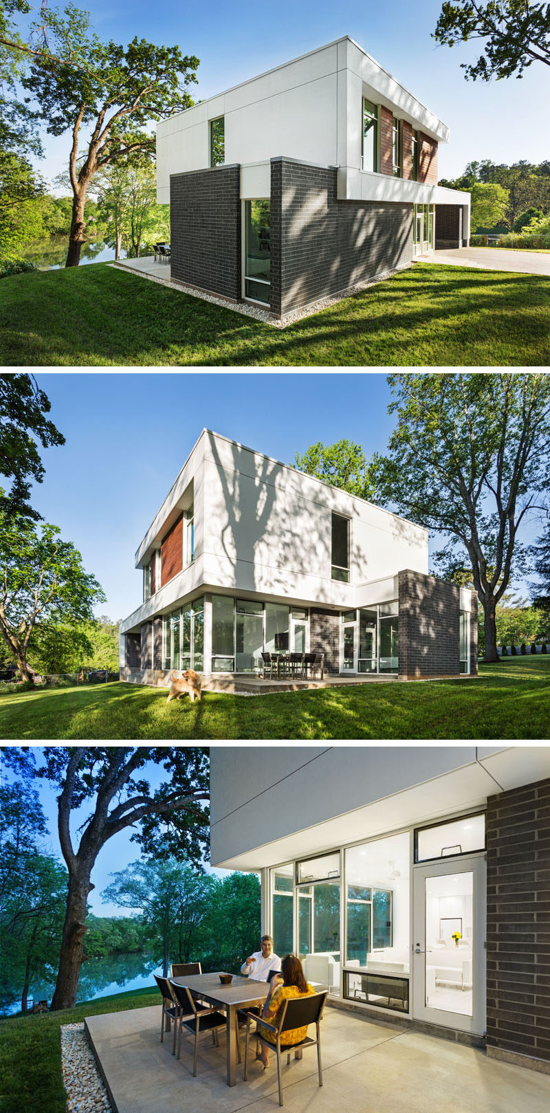 This modern house sits in on a lot that was once overgrown. The design of the house draws inspiration from some of the mid-century modern houses in the surrounding neighborhood.
