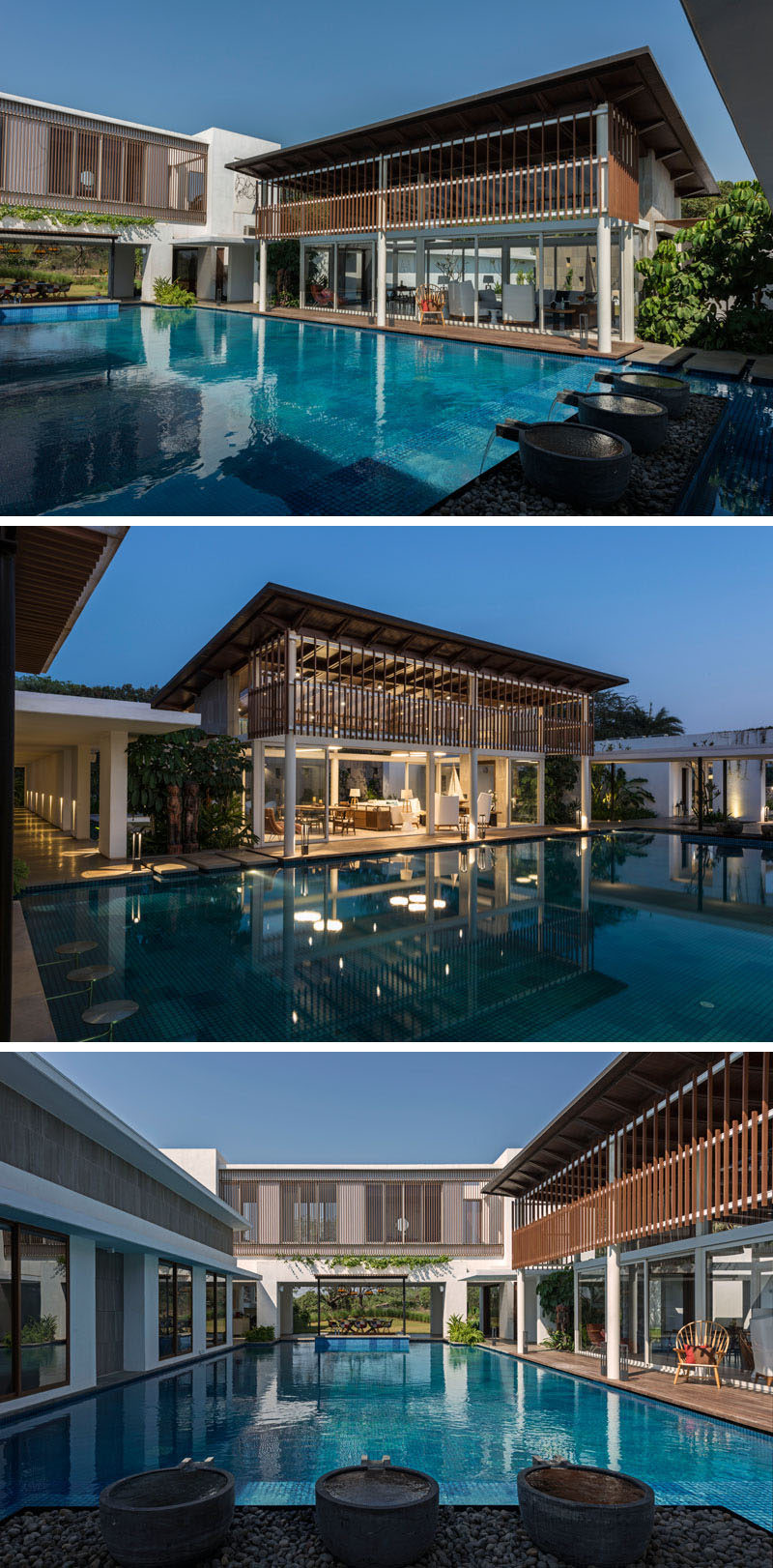 This modern house wraps around a large swimming pool.