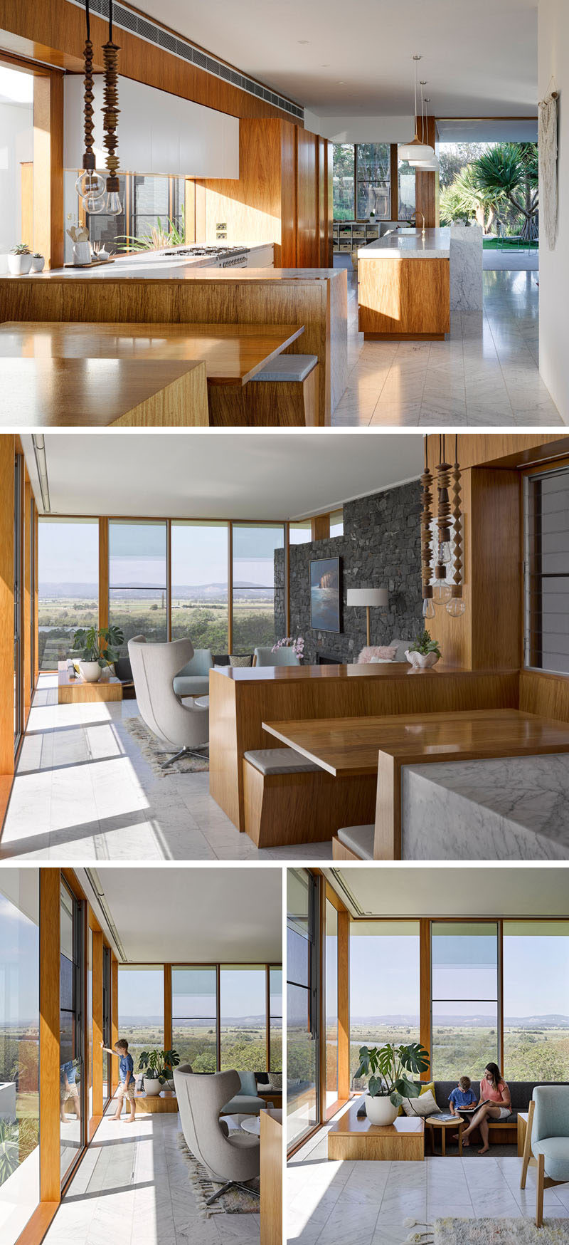 Next to this contemporary wood kitchen is a more casual built-in dining area or breakfast booth. Next to the breakfast booth is the living room, and stepping down from the living room is a sunken lounge.