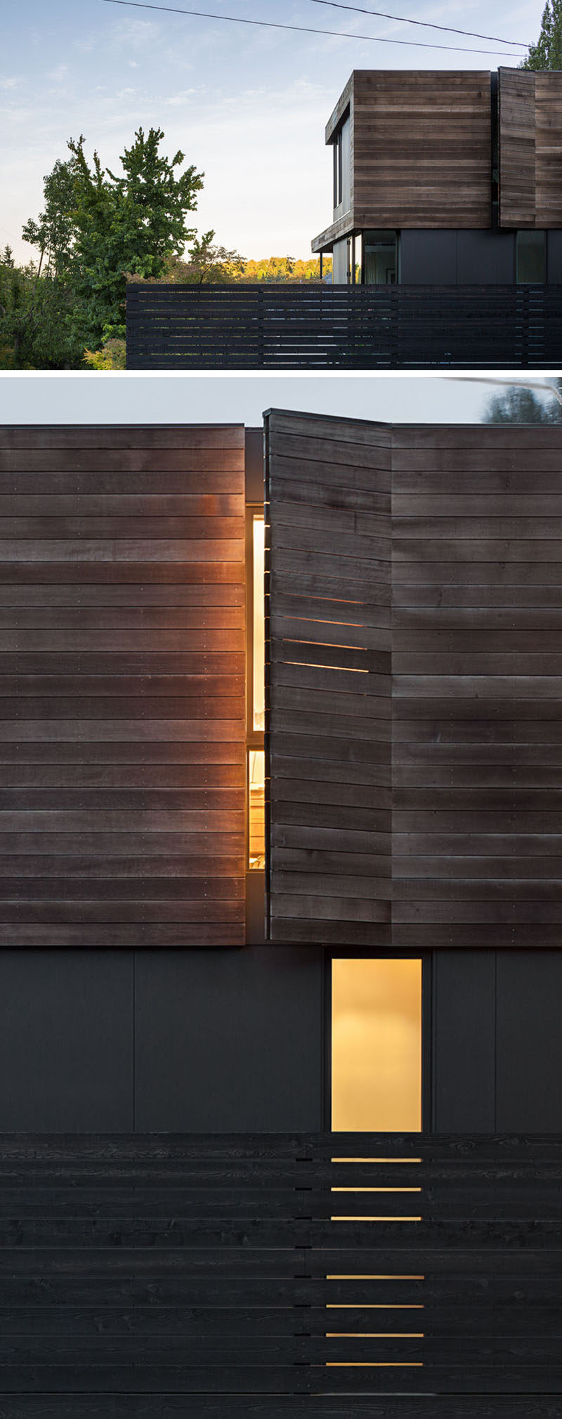 The exterior of this modern house has window covers designed to blend in seamlessly with the wood facade.